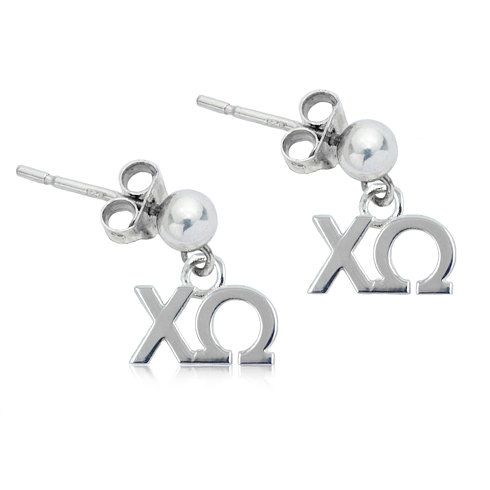 Sterling Silver Chi Omega Post Earrings