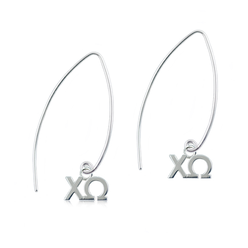 Sterling Silver Chi Omega Long Earrings