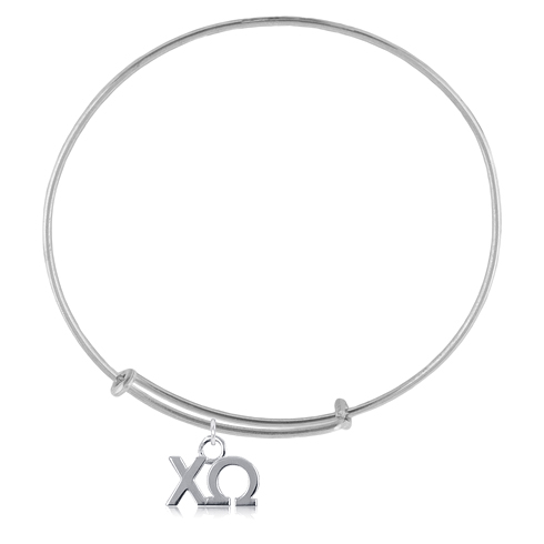 Sterling Silver Chi Omega Adjustable Charm Bracelet