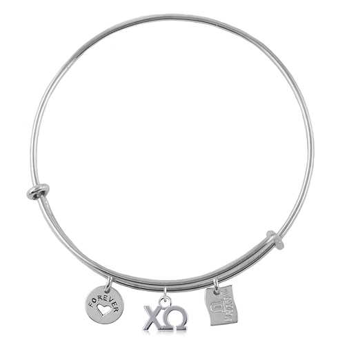 Sterling Silver Chi Omega Adjustable Bracelet with Charms