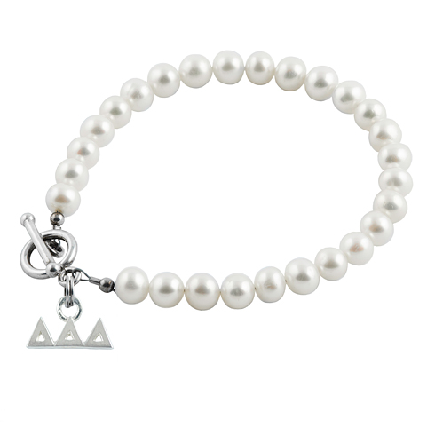 Sterling Silver Delta Delta Delta Pearl Bracelet