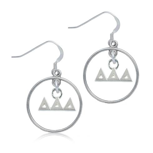 Sterling Silver Delta Delta Delta Open Drop Earrings