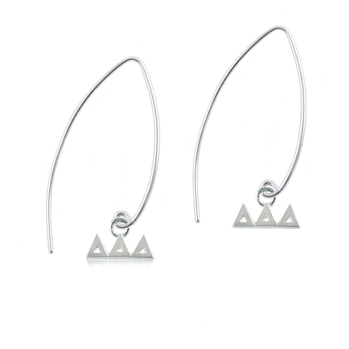 Sterling Silver Delta Delta Delta Long Earrings