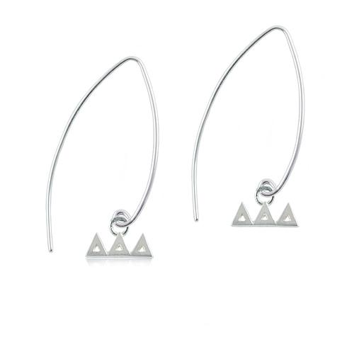 Sterling Silver Delta Delta Delta Long Earrings