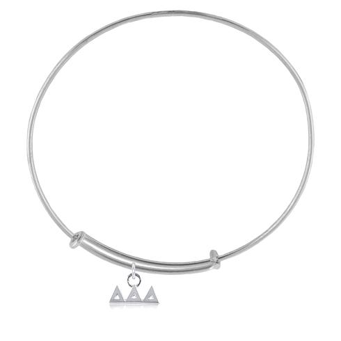 Sterling Silver Delta Delta Delta Adjustable Charm Bracelet
