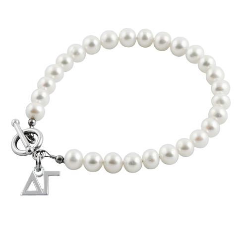 Sterling Silver Delta Gamma Pearl Bracelet