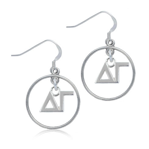 Sterling Silver Delta Gamma Open Drop Earrings