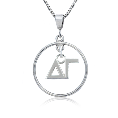Sterling Silver 16in Delta Gamma Open Drop Necklace