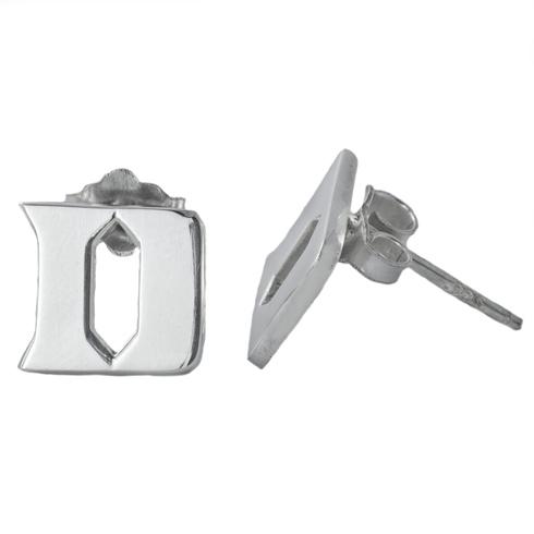 Sterling Silver Duke University Post Earrings