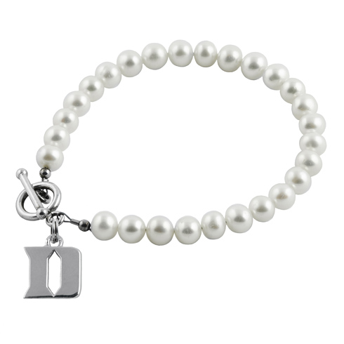 Sterling Silver Duke University White Pearl Bracelet