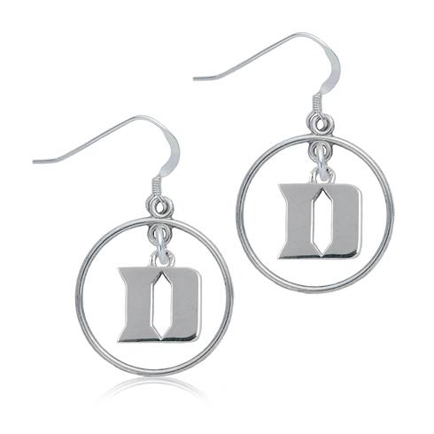 Sterling Silver Duke University Open Drop Earrings