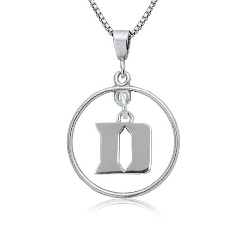 Sterling Silver Duke University Open Drop Necklace
