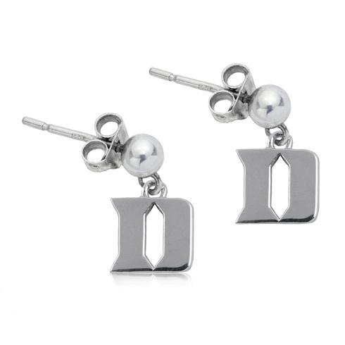 Sterling Silver Duke University Post Dangle Earrings