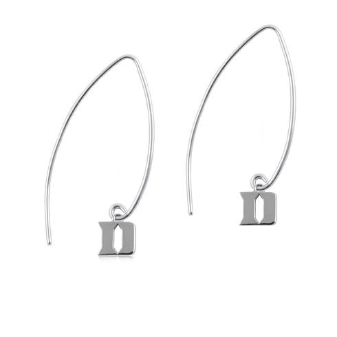 Sterling Silver Duke University Long Fishhook Earrings