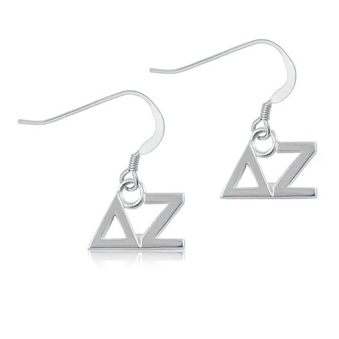Sterling Silver Delta Zeta Dangle Earrings