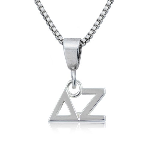Sterling Silver 16in Delta Zeta Charm Necklace
