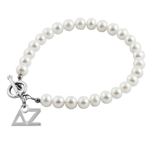 Sterling Silver Delta Zeta Pearl Bracelet