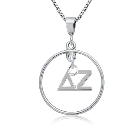 Sterling Silver 16in Delta Zeta Open Drop Necklace