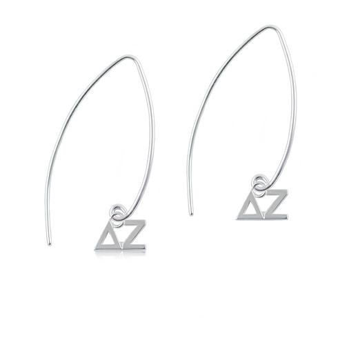 Sterling Silver Delta Zeta Long Earrings