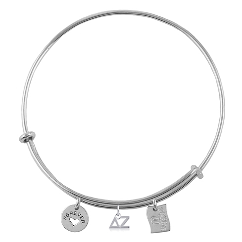 Sterling Silver Delta Zeta Adjustable Bracelet with Charms