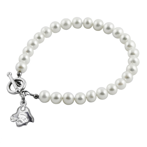 Sterling Silver East Carolina University White Pearl Bracelet