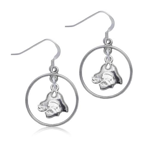 Sterling Silver East Carolina University Open Drop Earrings