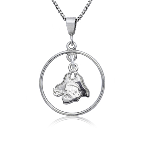 Sterling Silver 16in East Carolina University Open Drop Necklace