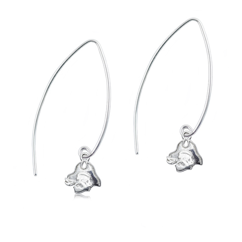 Sterling Silver East Carolina University Long Fishhook Earrings