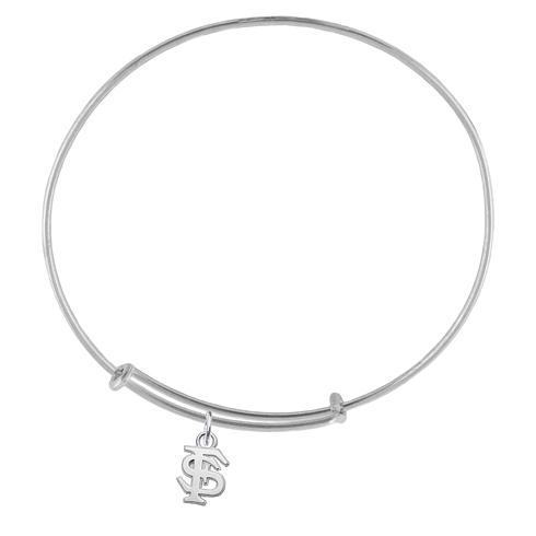 Sterling Silver Florida State University Charm Adjustable Bracelet