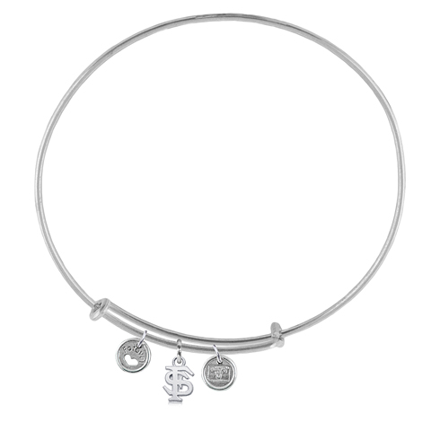 Sterling Silver Florida State University Adjustable Bracelet with Charms