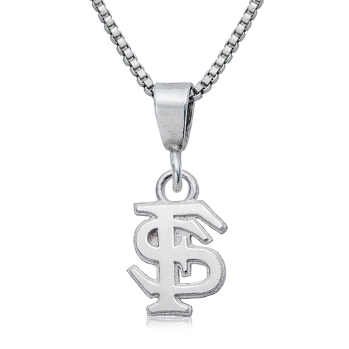 Sterling Silver 16in Florida State University Charm Necklace