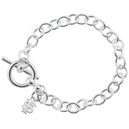 Sterling Silver 7 1/2in Florida State University Link Bracelet