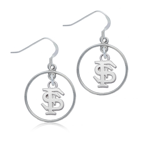 Sterling Silver Florida State University Open Drop Earrings