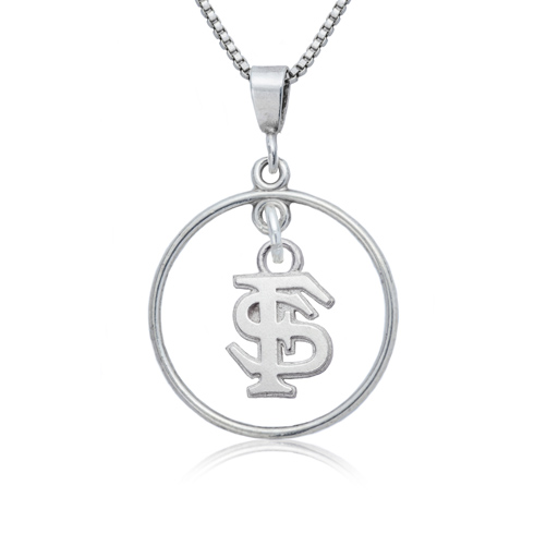 Sterling Silver Florida State University Open Drop Necklace