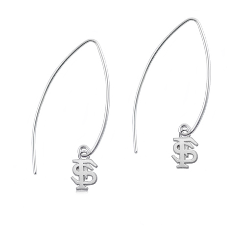 Sterling Silver Florida State University Long Fishhook Earrings