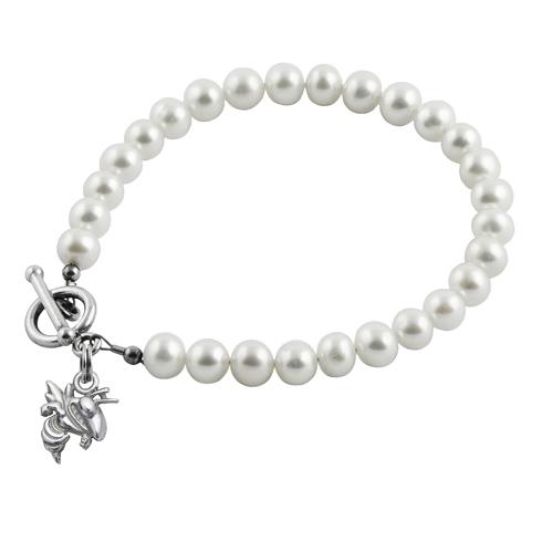 Sterling Silver Georgia Tech White Pearl Bracelet