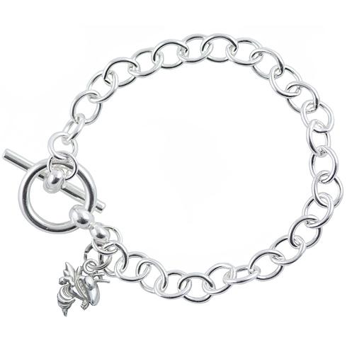 Sterling Silver 7 1/2in Georgia Tech University Link Bracelet