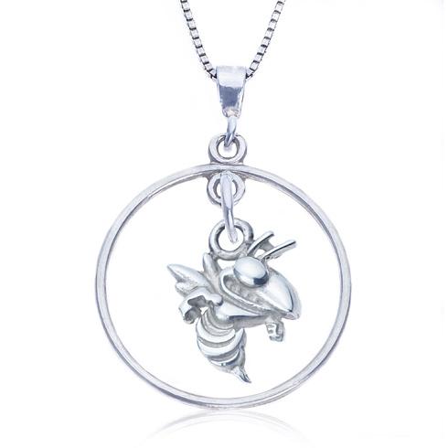 Sterling Silver 16in Open Drop Georgia Tech Necklace