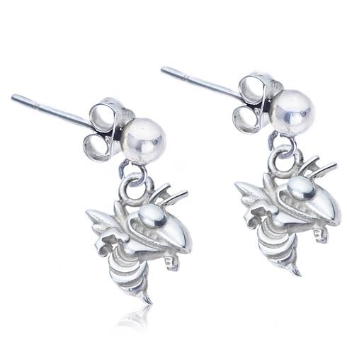 Sterling Silver Post Dangle Georgia Tech Earrings