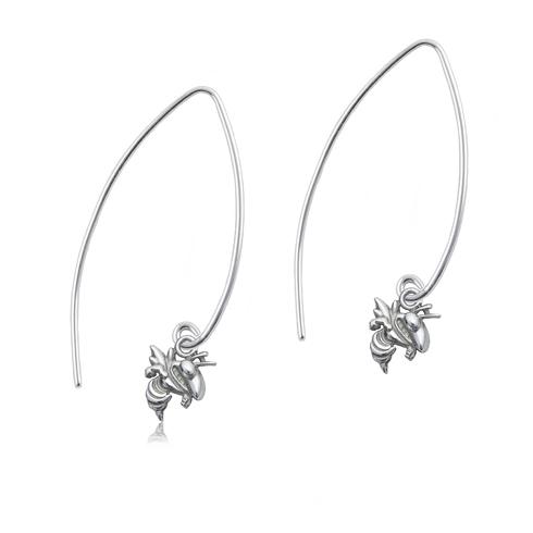 Sterling Silver Georgia Tech Long Fishhook Earrings
