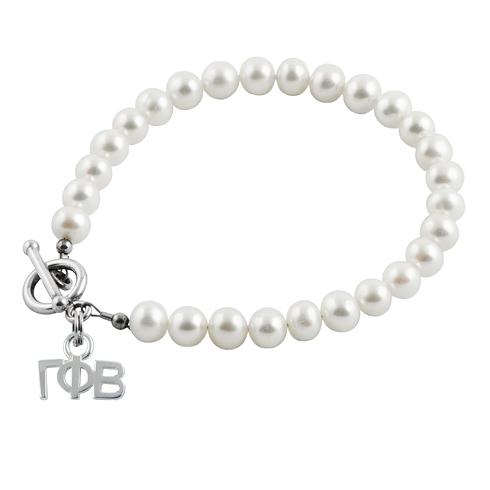 Sterling Silver Gamma Phi Beta Pearl Bracelet