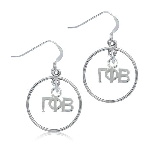 Sterling Silver Gamma Phi Beta Open Drop Earrings