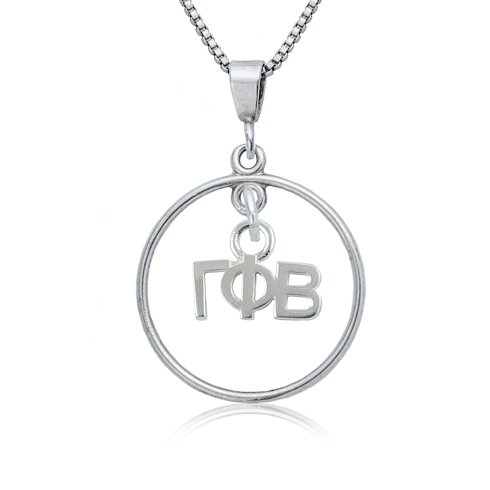 Sterling Silver 16in Gamma Phi Beta Open Drop Necklace