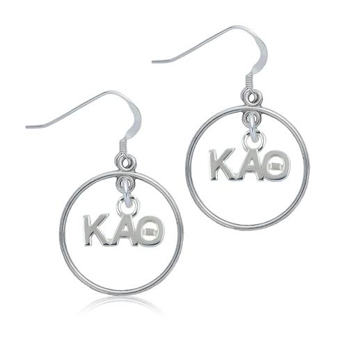 Sterling Silver Kappa Alpha Theta Open Drop Earrings