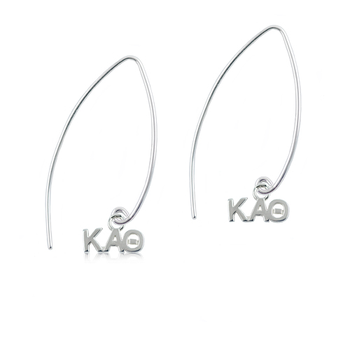 Sterling Silver Kappa Alpha Theta Long Earrings