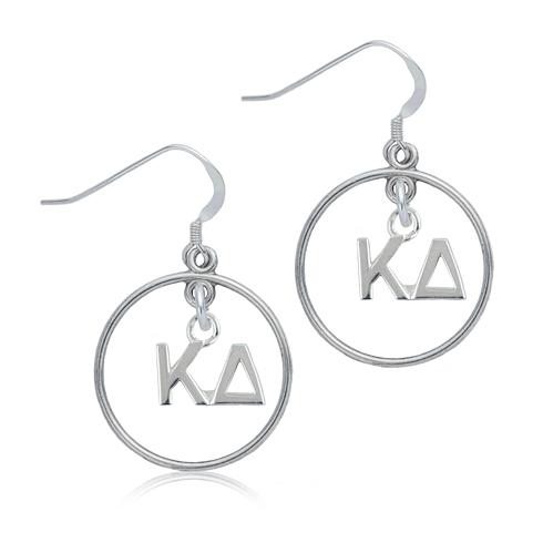 Sterling Silver Kappa Delta Open Drop Earrings