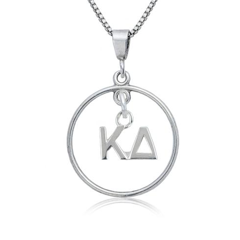 Sterling Silver 16in Kappa Delta Open Drop Necklace