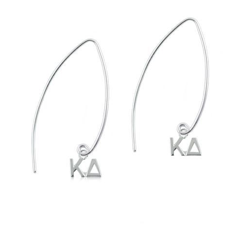 Sterling Silver Kappa Delta Long Earrings