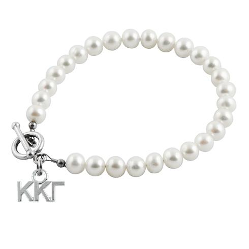 Sterling Silver Kappa Kappa Gamma Pearl Bracelet
