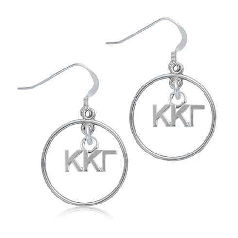 Sterling Silver Kappa Kappa Gamma Open Drop Earrings